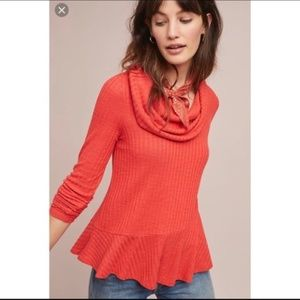 Anthropologie Maeve Cowlneck Peplum Long Sleeve